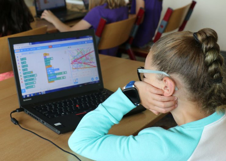 Saturday Academy student working in Scratch programming