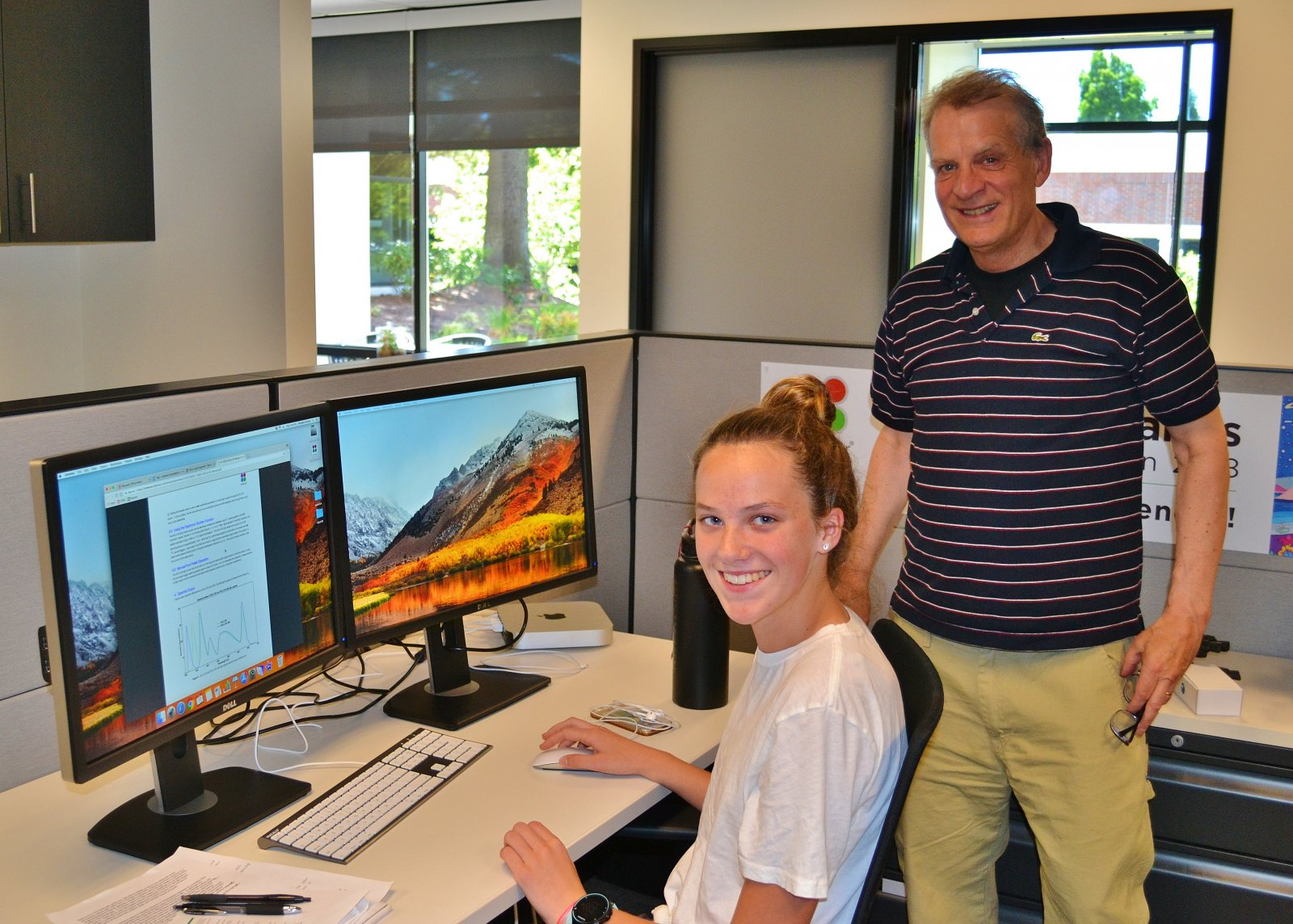 ASE Intern Elizabeth Brands with mentor Iain Johnson at Lumencor (2018)