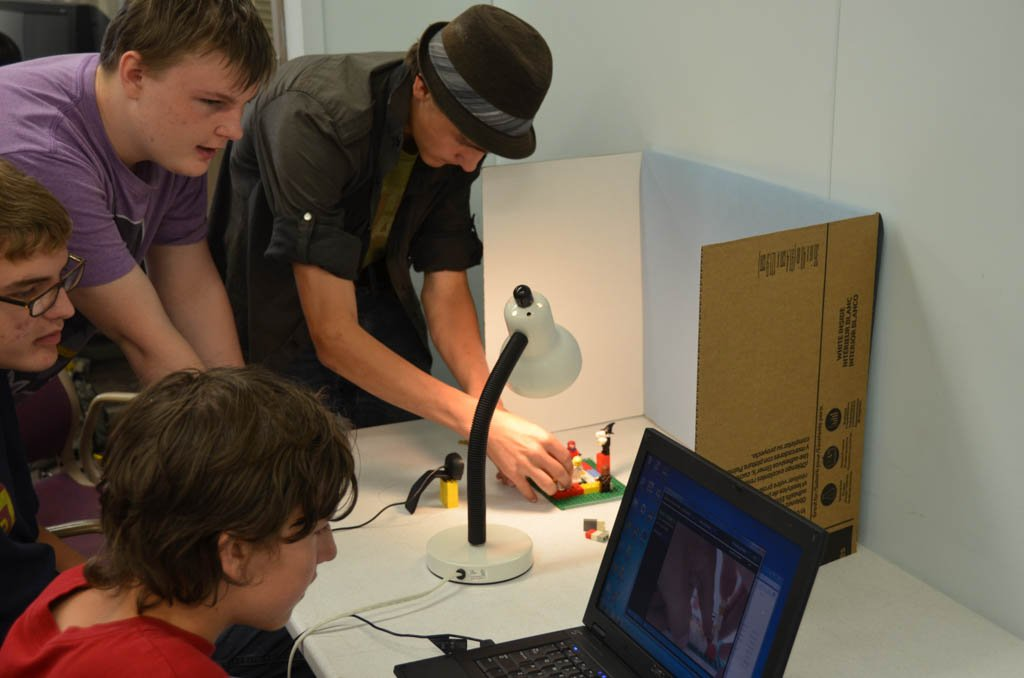 Saturday Academy students working on stop motion animation